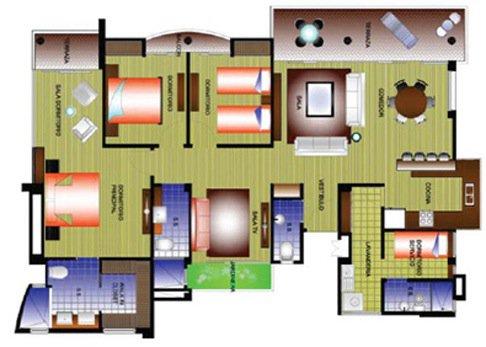 Plano tipo apartamento Torres del Country